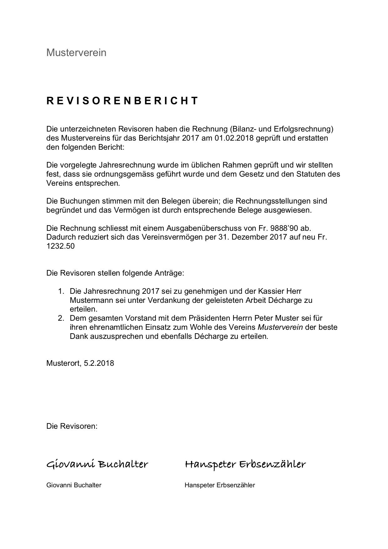 Revisorenbericht Verein Vorlage Kostenlos Downloaden