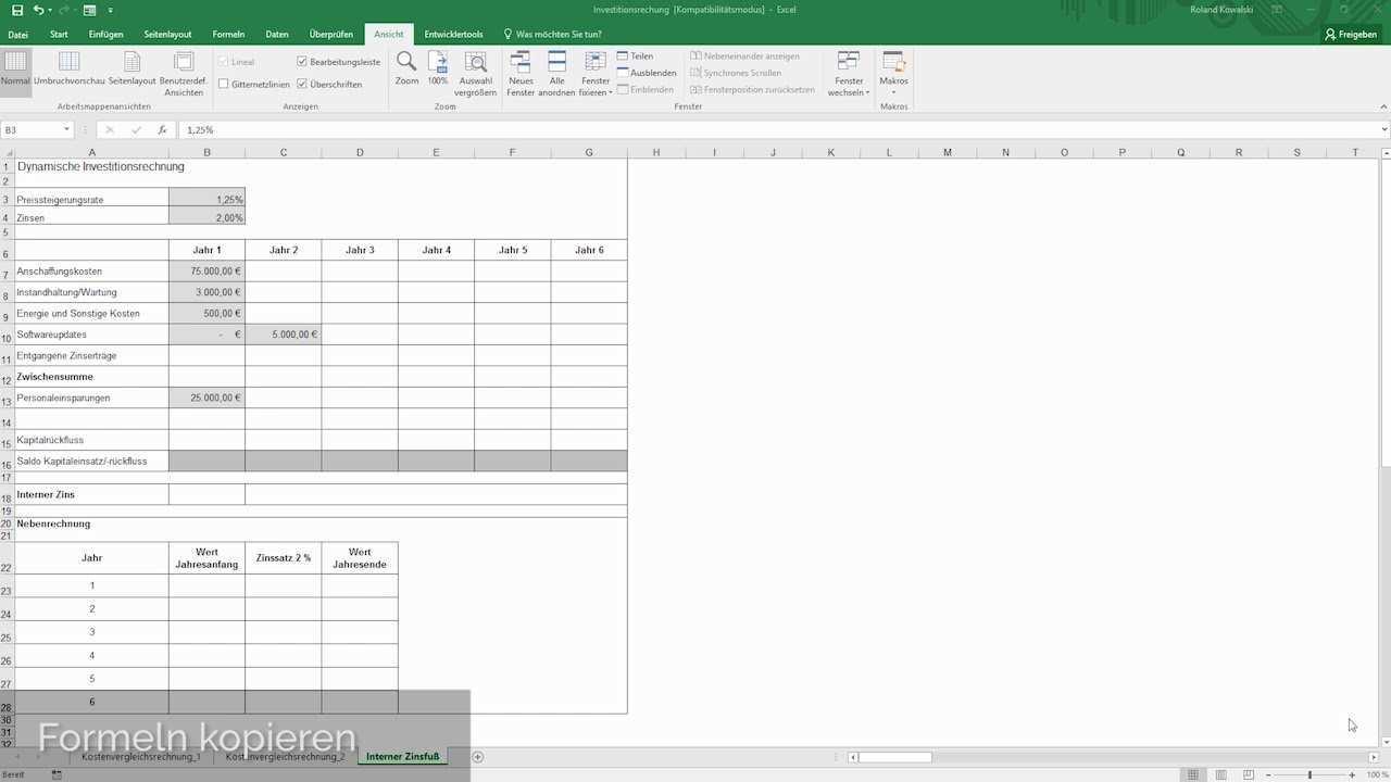 Investitionsrechnung Mit Microsoft Excel Youtube