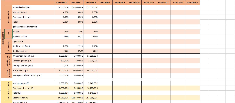 Excel Vorlage Investitionsberechnung Fur Immobilien