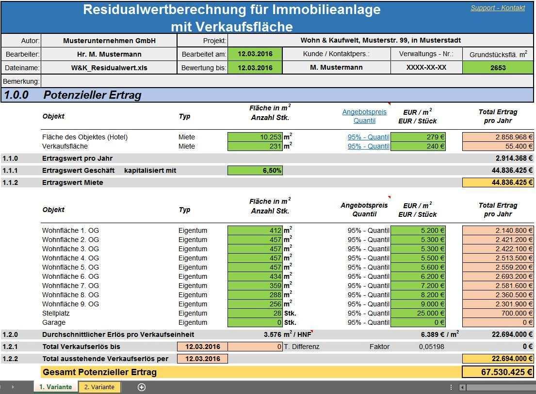 Residualwertberechnung Fur Immobilien Anlage In Excel
