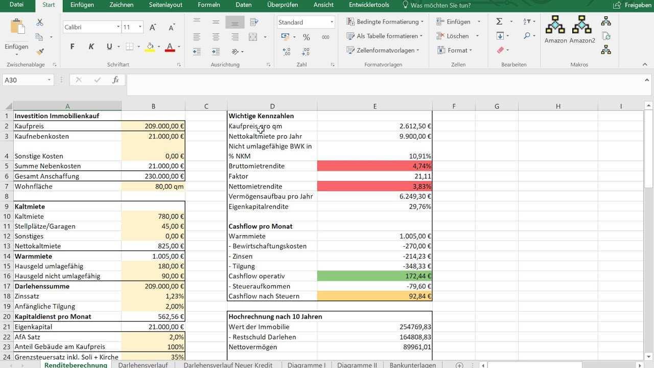 Tool In Excel Zum Kalkulieren Von Immobilien Youtube