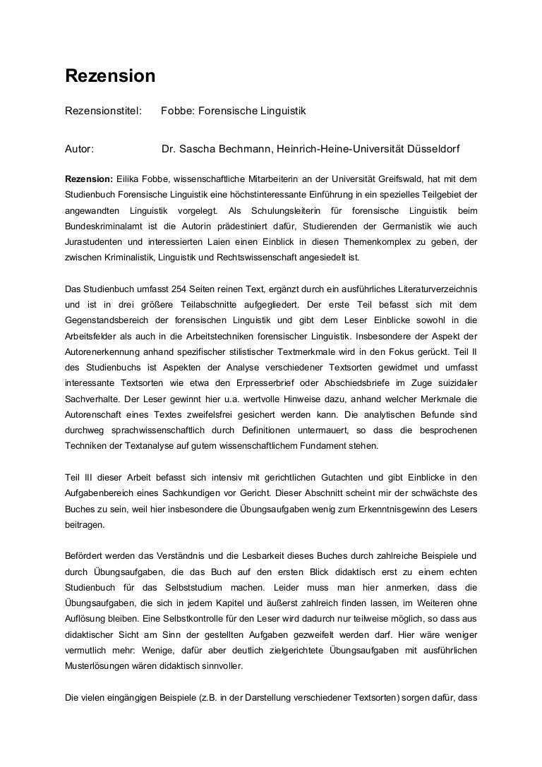 Rezension Fobbe Forensische Linguistik