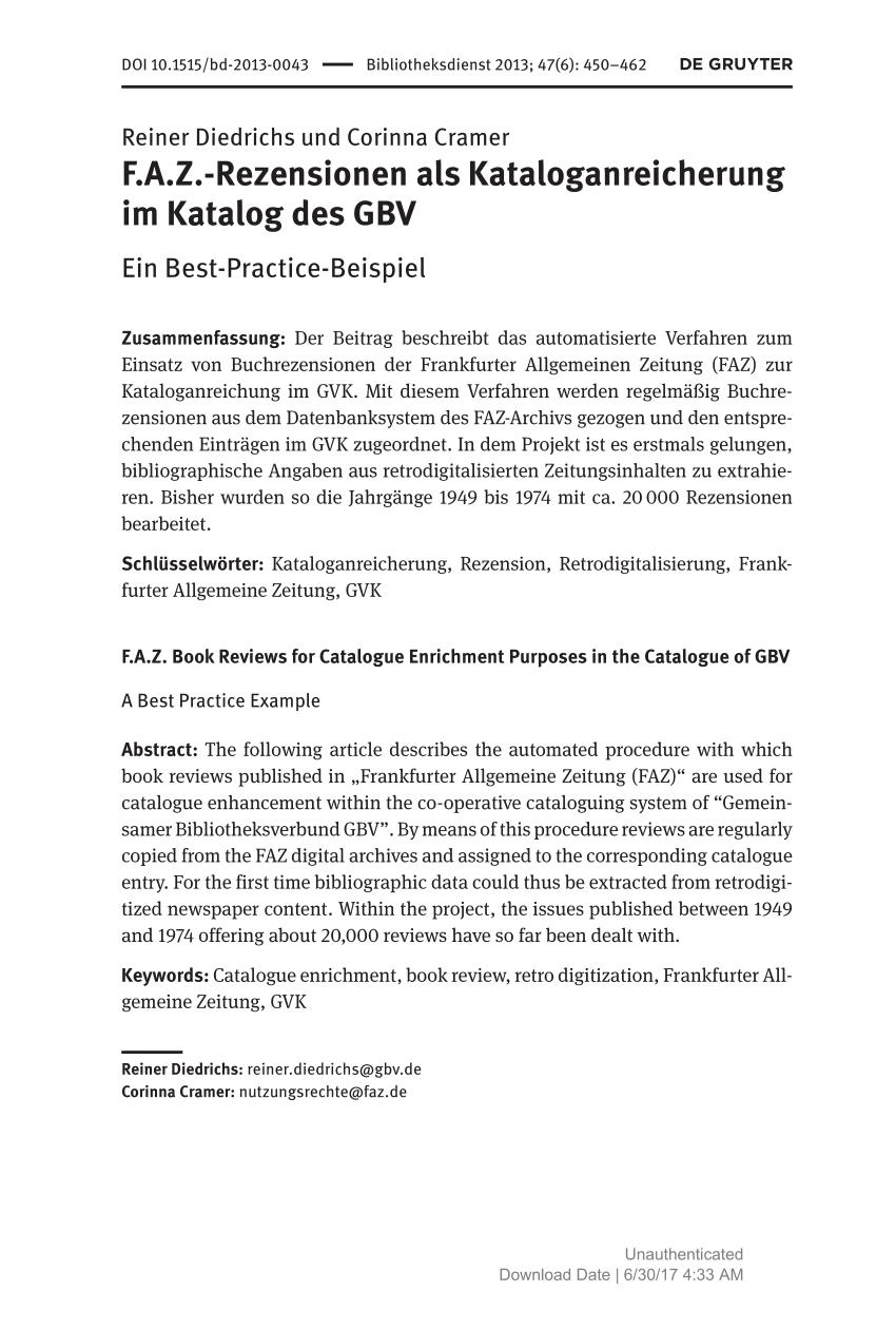 Pdf F A Z Rezensionen Als Kataloganreicherung Im Katalog Des Gbv