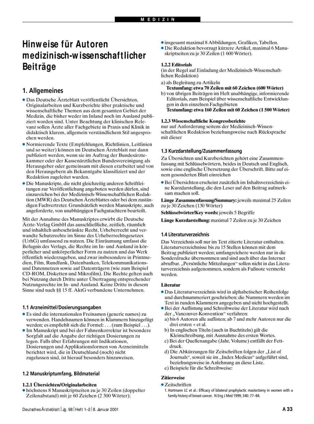 Hinweise Fur Autoren Medizinisch Wissenschaftlicher Beitrage