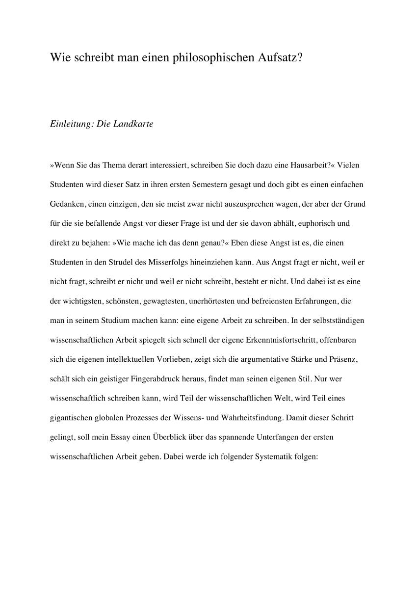 Pdf Wie Schreibt Man Einen Philosophischen Aufsatz
