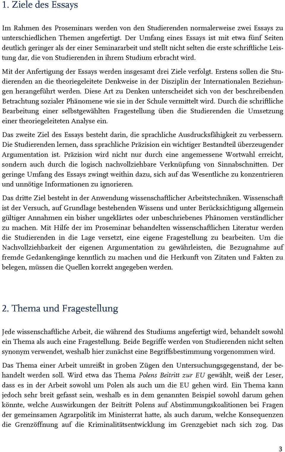 Empfehlungen Fur Die Anfertigung Von Essays Im Proseminar Einfuhrung In Die Internationale Und Europaische Politik Pdf Kostenfreier Download