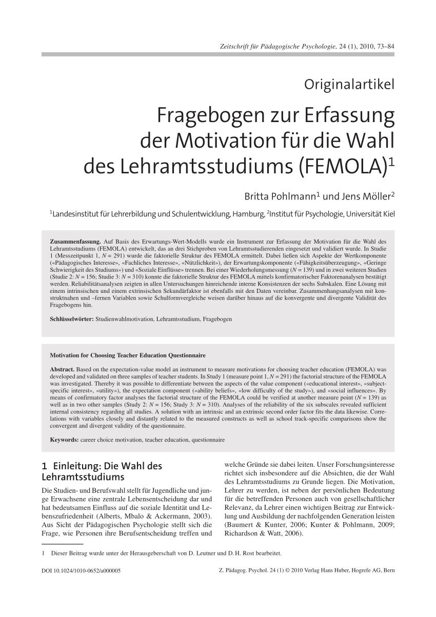 Pdf Fragebogen Zur Erfassung Der Motivation Fur Die Wahl Des Lehramtsstudiums Femola 1
