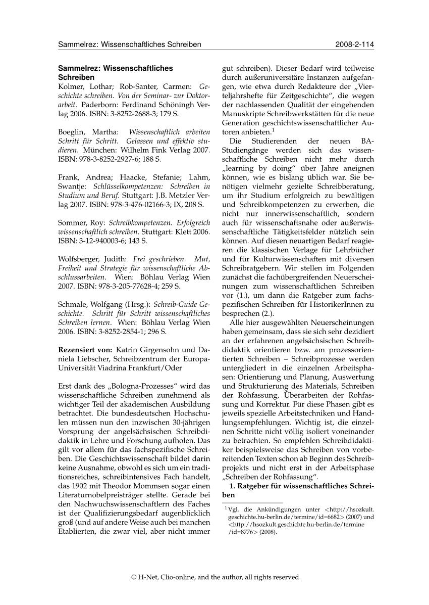Pdf Ratgeber Wissenschaftliches Schreiben
