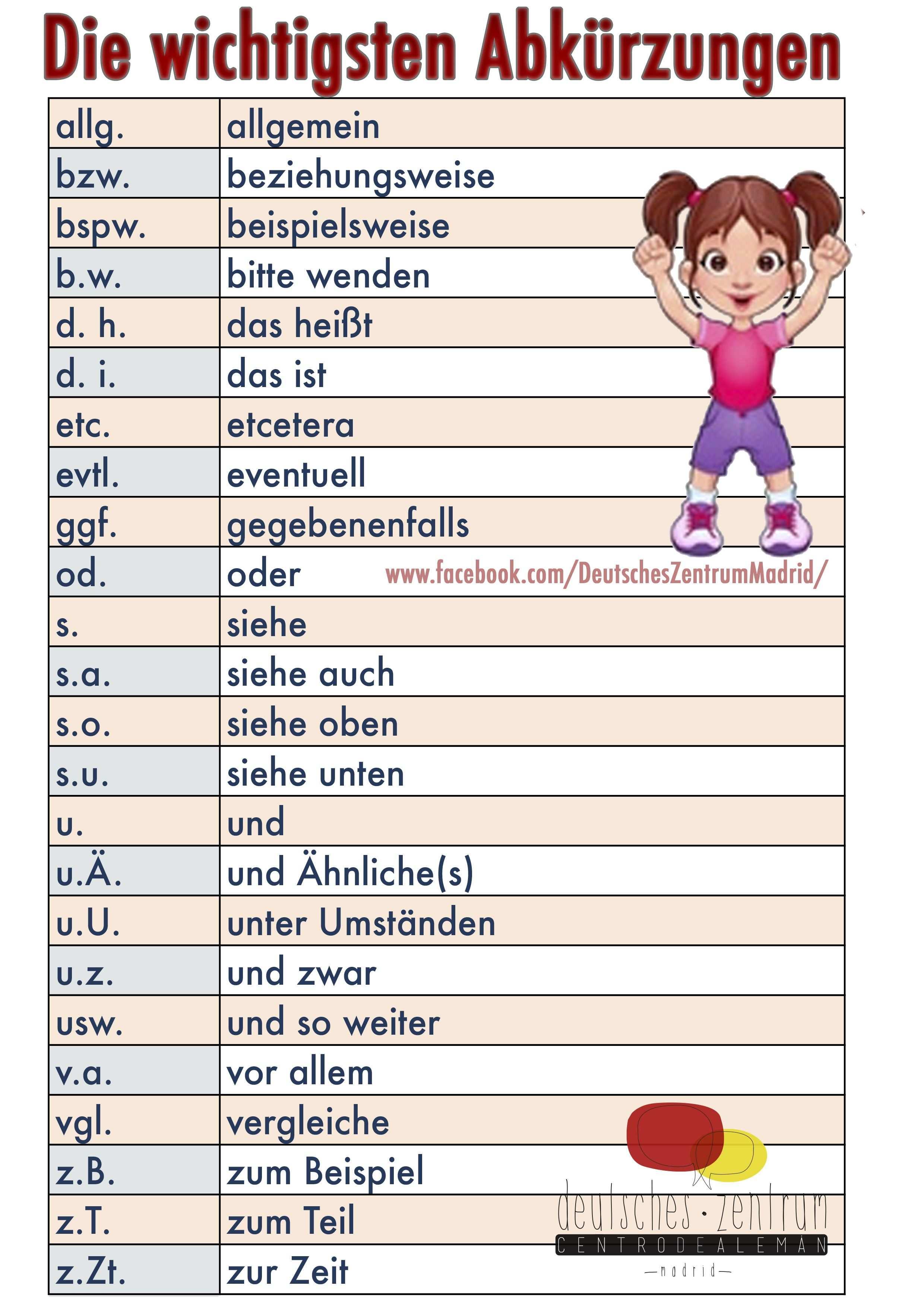 Abkurzungen Deutsch Wortschatz Grammatik German Aleman Daf Abreviaturas Deutsch Lernen Deutsch Wortschatz Grammatik