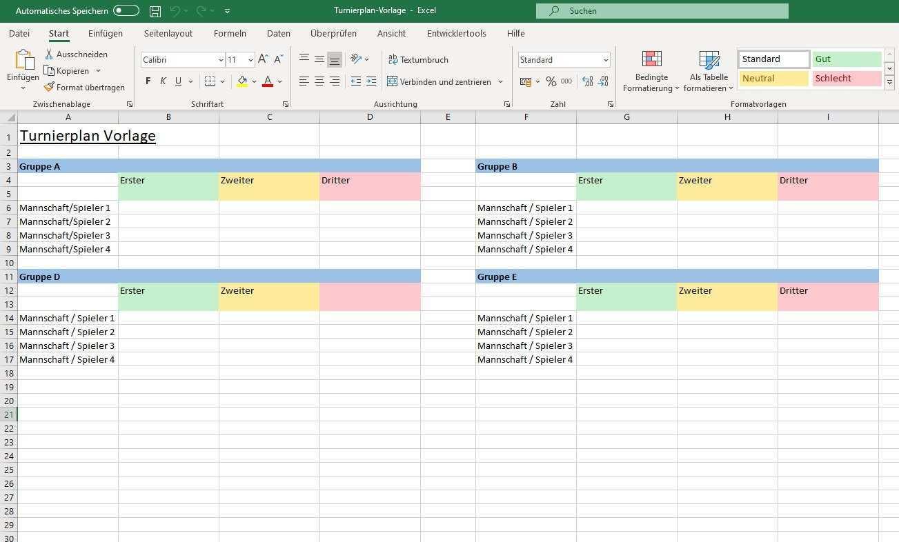 Kostenloser Excel Turnierplan Anleitung Vorlage Zum Download