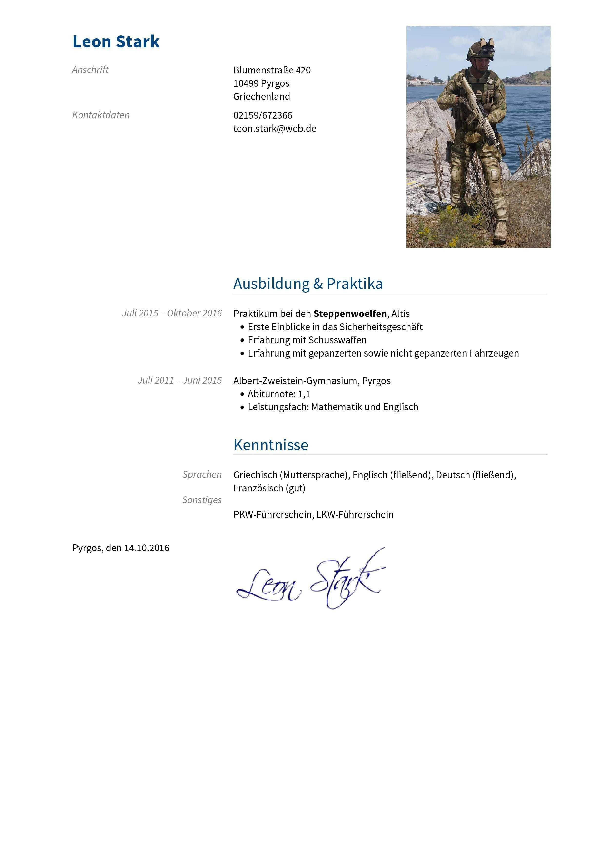 Briefprobe Briefformat Briefvorlage Kenntnisse Gymnasium Bewerbung