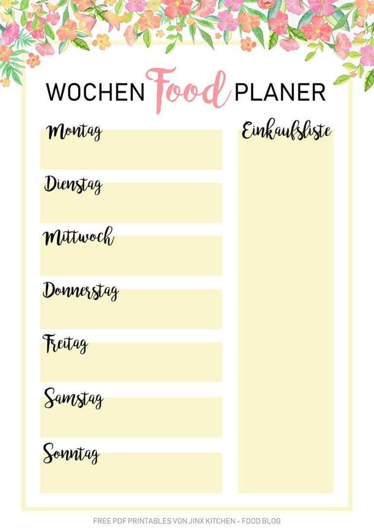 Kostenlose Pdf Wochen Planer Essensplan Printables Wochen Planer Essen Planer Menuplanung