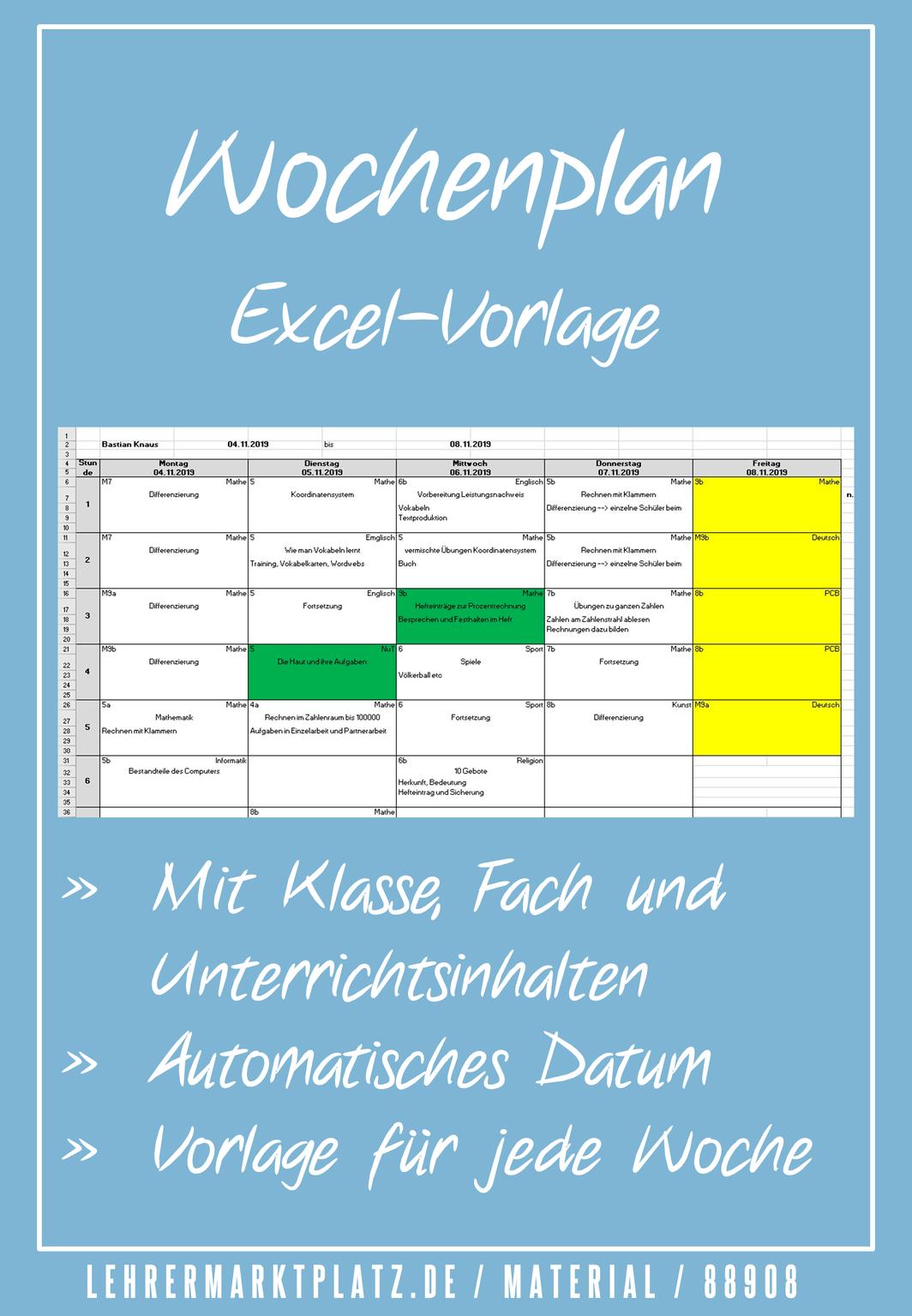 Wochenplan Vorlage Zur Unterrichtsplanung Lehrer Zeit De Unterrichtsplanung Wochenplan Vorlage Unterrichts Planung