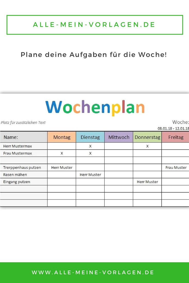 Mit Der Kostenlosen Vorlage Wochenplan Kannst Du Deine Aufgaben Und Todo S Wochentlich Planen Wochen Planer Wochenplan Vorlage Wochenplan