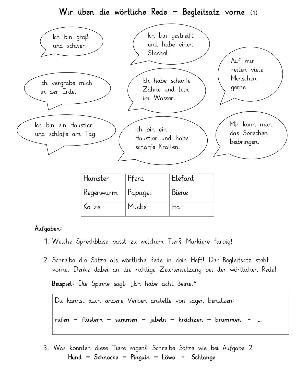 Wortliche Rede Unterrichtsmaterial Im Fach Deutsch Wortliche Rede Lernen Unterrichtsmaterial