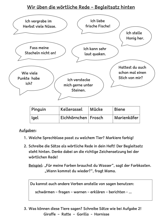 Wortliche Rede Teil 2 Mit Lernzielkontrolle Unterrichtsmaterial Im Fach Deutsch Wortliche Rede Lernen Ubungsblatt