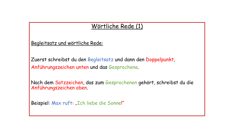 Merksatze Wortliche Rede Unterrichtsmaterial Im Fach Deutsch Wortliche Rede Einfache Satze Merken
