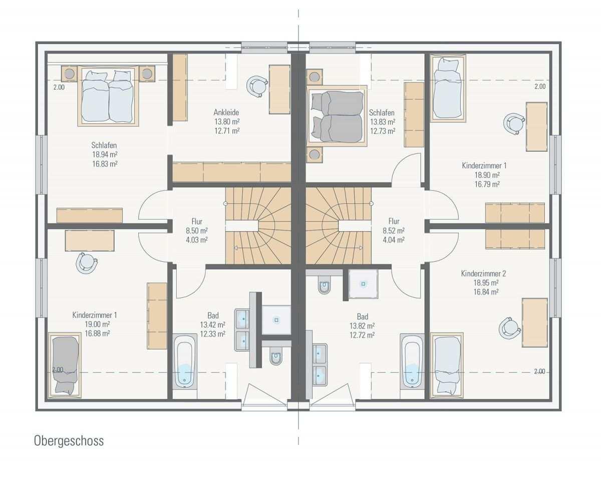 Doppelhaus Familienfreundliches Fertighaus Petershaus Kaarst Das Holzhaus Systembau Fertighaus Massivhaus Haus Haus Bauen Massivhaus