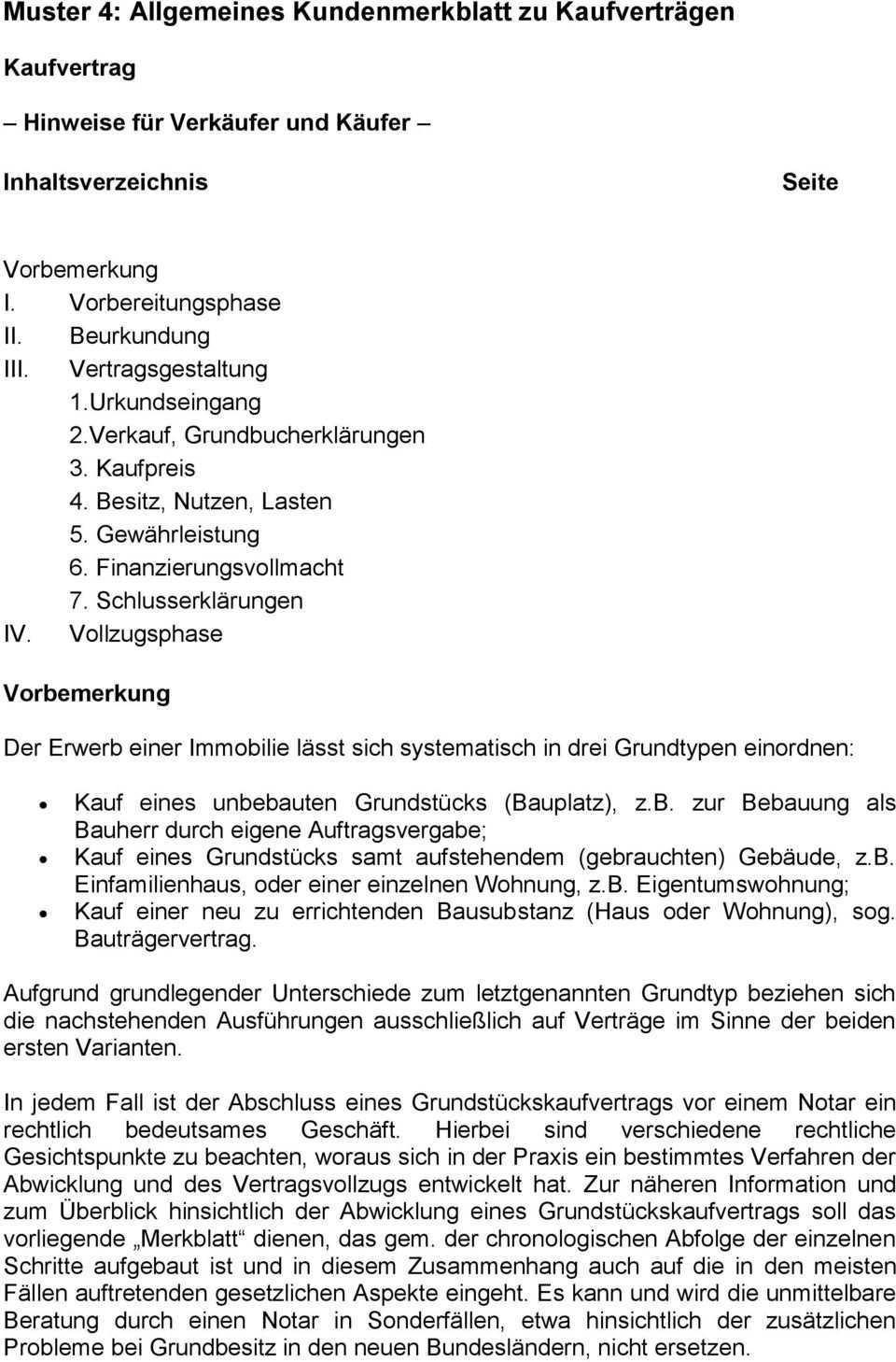 Muster 4 Allgemeines Kundenmerkblatt Zu Kaufvertragen Pdf Free Download