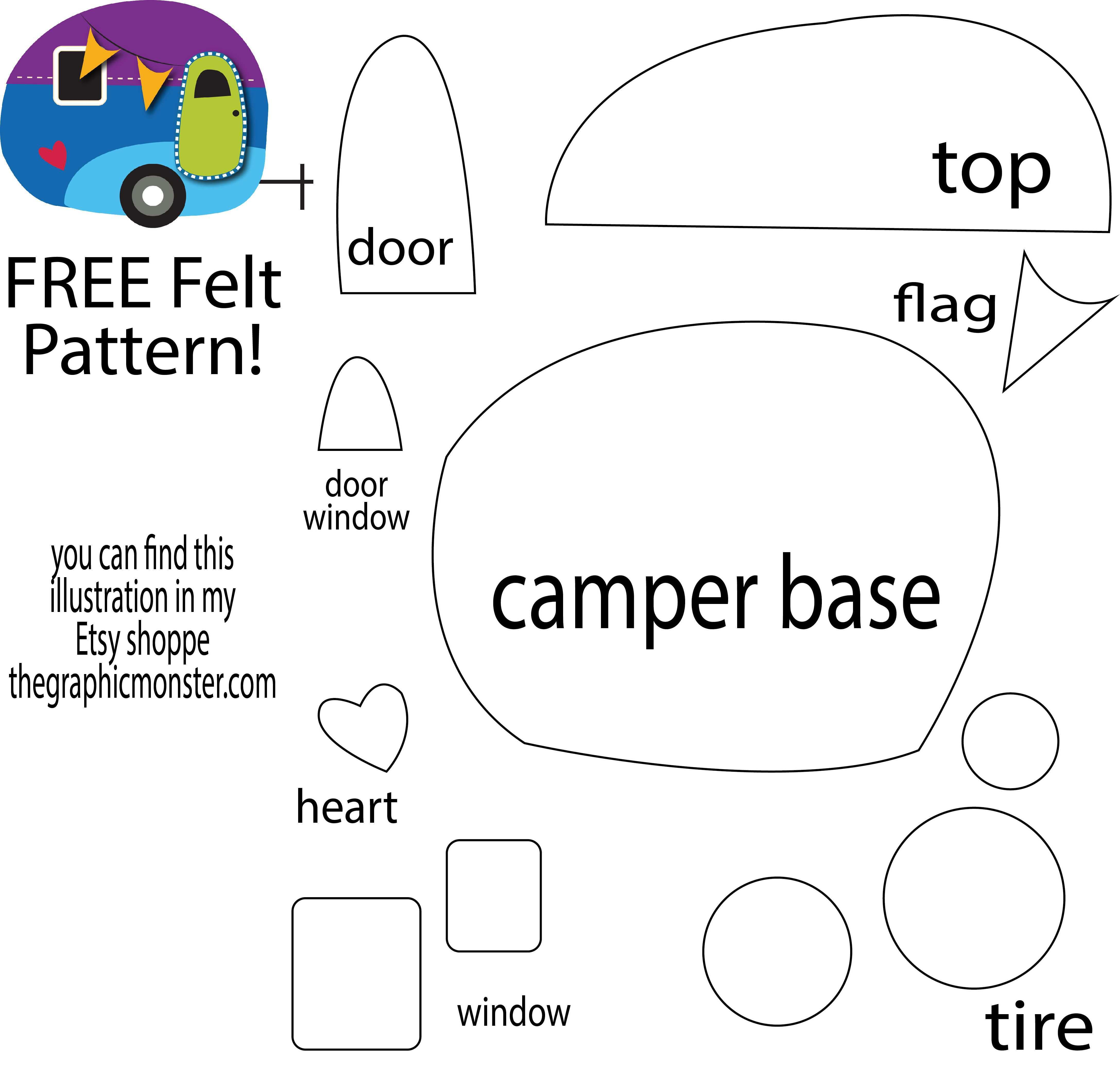 Free Felt Pattern From My Cute Camper Illustration Thegraphicmonster Com Felt Ornaments Patterns Felt Christmas Ornaments Felt Pattern