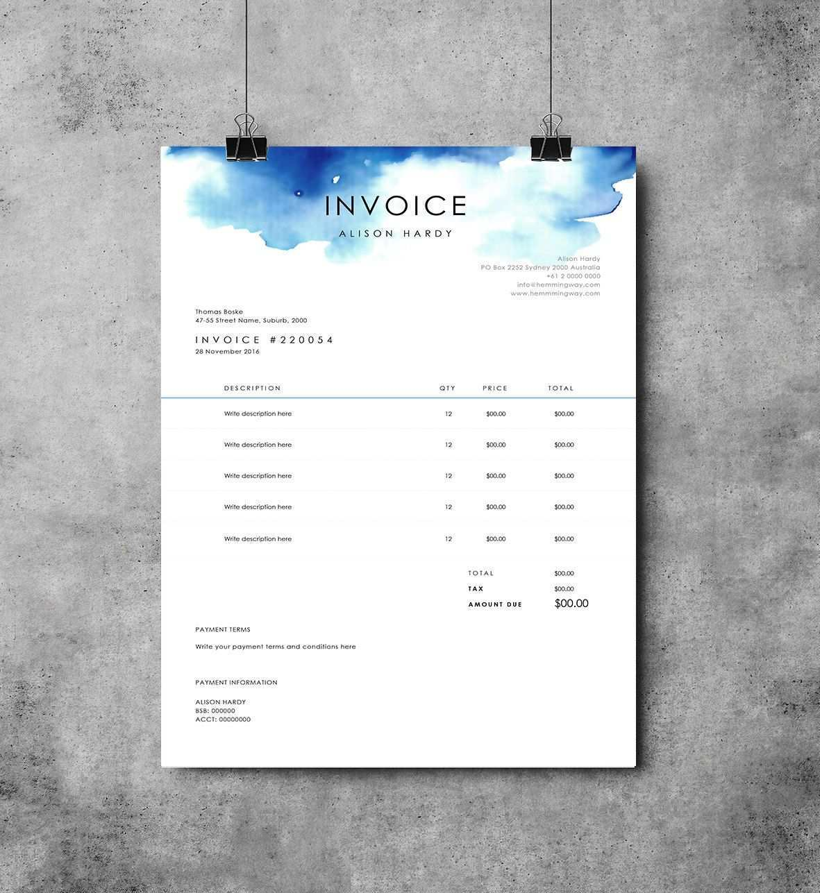 Invoice Template Receipt Ms Word Template Instant Download Invoice Invoice Design Invoice Template Photography Invoice Template