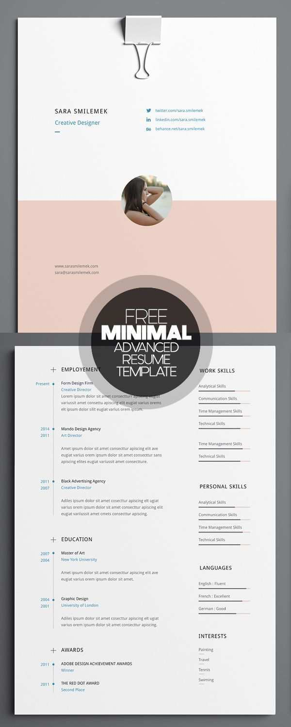 Free Minimal Advanced Resume Template Lebenslauf Design Vorlagen Lebenslauf Lebenslauf