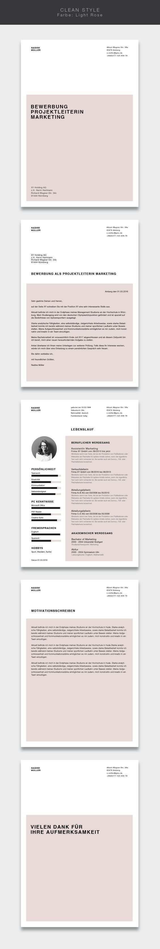 Unsere Bewerbungsvorlage Cvtemplate Clean Style In Der Farbe Light Rose Less Is More Einfaches Und Ub Bewerbung Layout Bewerbung Lebenslauf Lebenslauf
