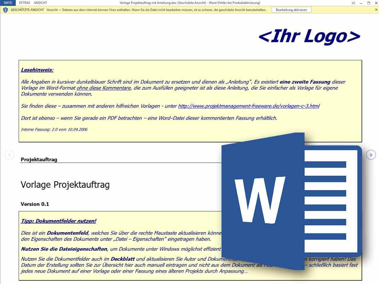 Word Vorlage Projektauftrag Projektauftrag Vorlagen Excel Vorlage