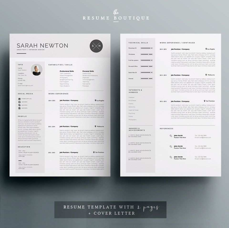 Resume Template And Cover Letter Template For Word Diy Etsy Resume Template Cover Letter Template Letter Templates