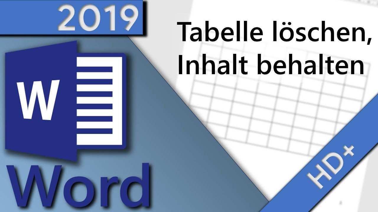 Word Tabelle Loschen Inhalt Behalten In 1 Minute Hd 2019 In 2020 Tabelle Weisheiten Wissen