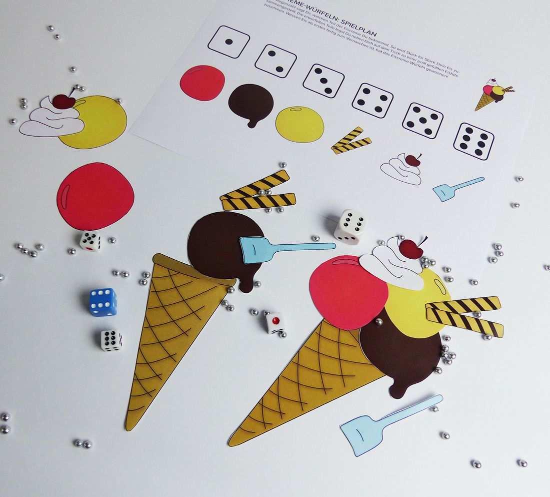 Eiscreme Wurfel Spiel Zum Herunterladen Balloonasshop Kindergeburtstag Wurfel Eiscreme