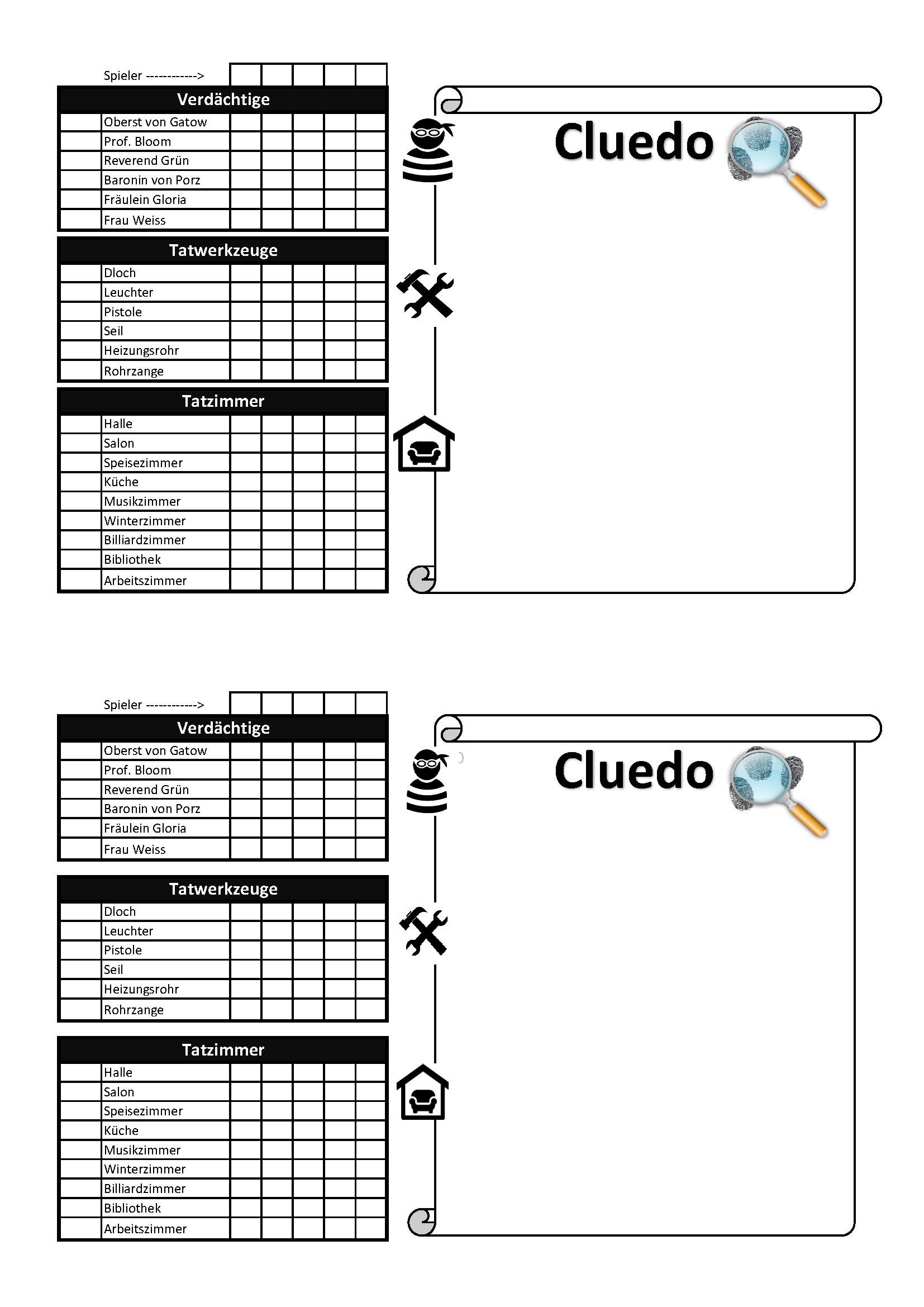 Cluedo Notizblock Zum Ausdrucken Notizblock Cluedo Spiel Ausdrucken