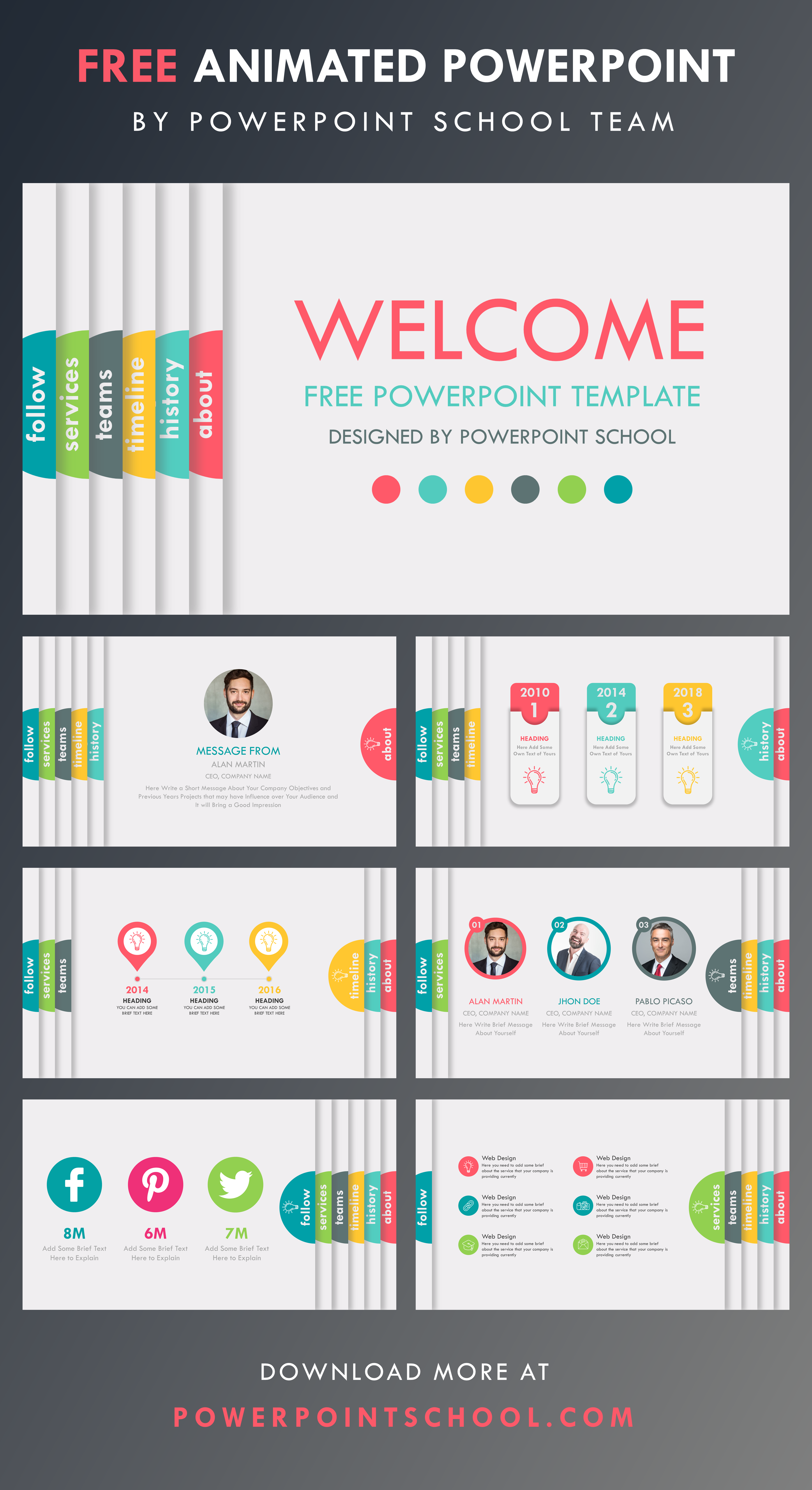 Free Powerpoint Template Infographic Powerpoint Creative Powerpoint Presentations School Powerpoint Templates