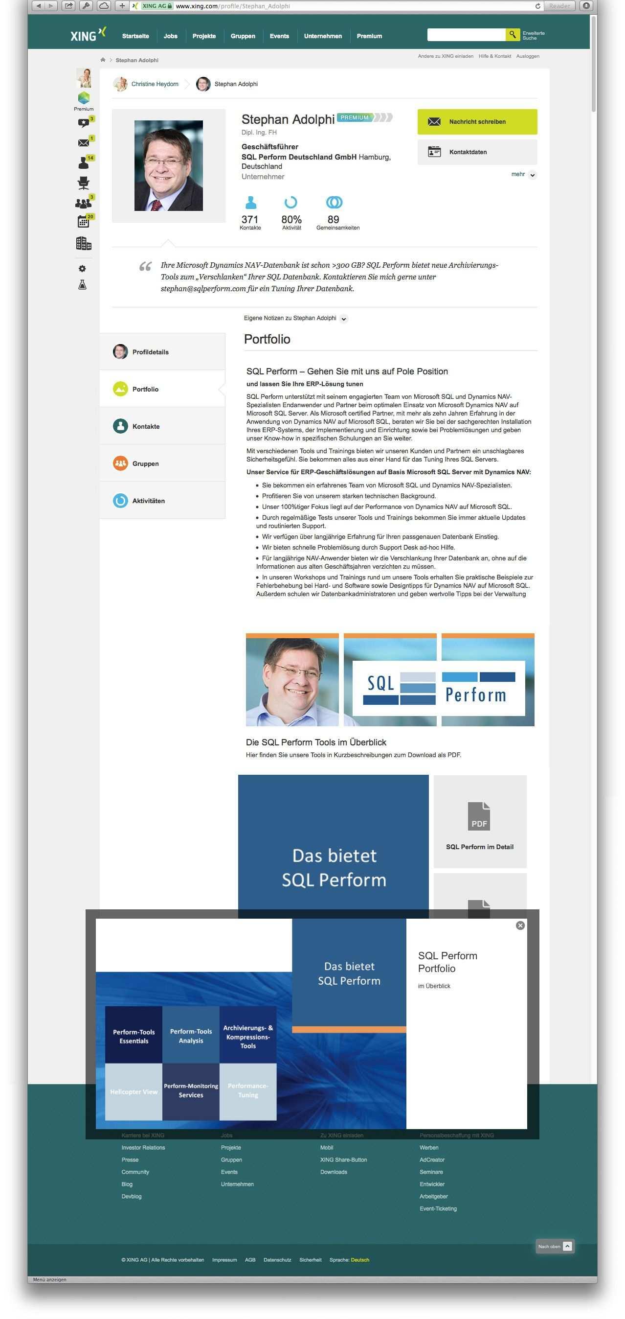 Grafische Ausarbeitung Des Xing Portfolio Fur Einen Premium Account Kunde Sql Perform Deutschland Portfolio Broschure Flyer
