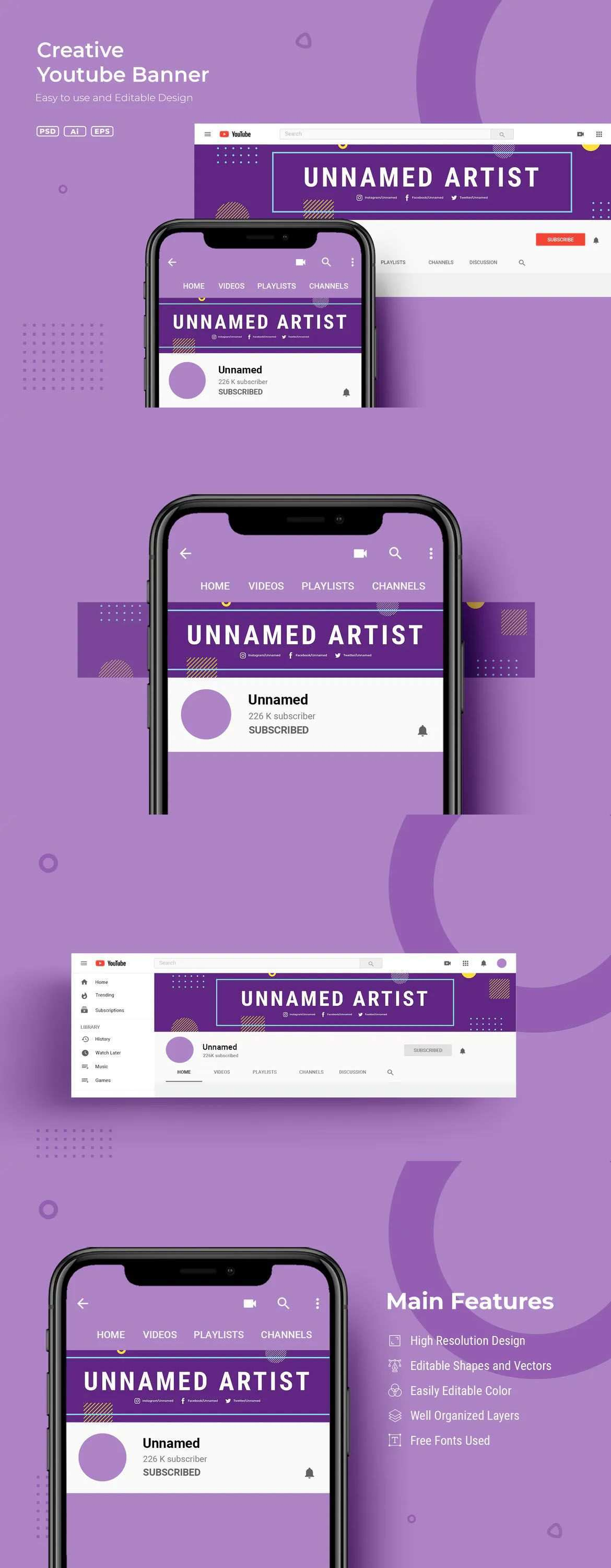 Creative Youtube Banner Template In 2020 Youtube Banner Template Youtube Banner Design Youtube Banners