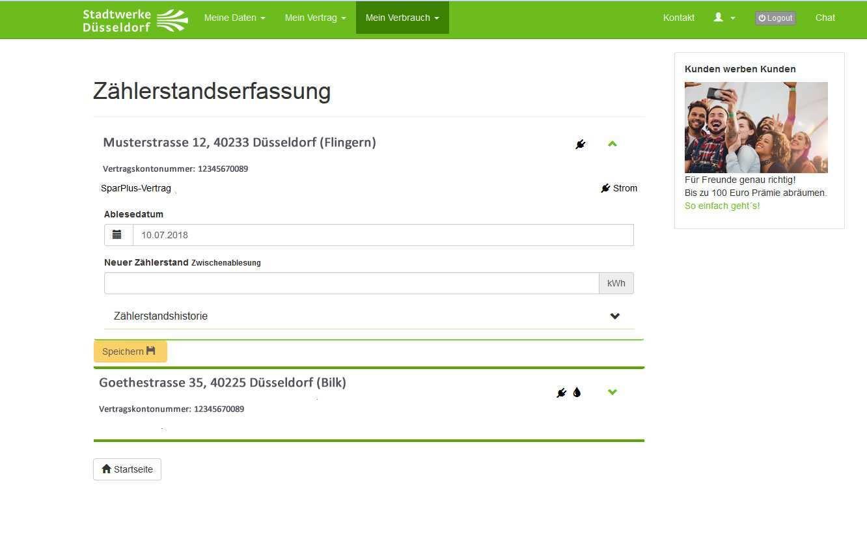 Zahlerstand Mitteilen Strom Gas Wasser Online Melden Stadtwerke Dusseldorf