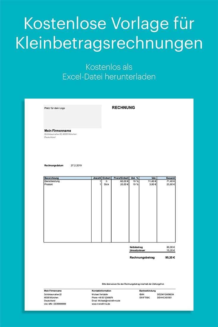 Kleinbetragsrechnung Unter 150 Euro Kostenlose Vorlage In Excel Rechnung Vorlage Excel Vorlage Vorlagen