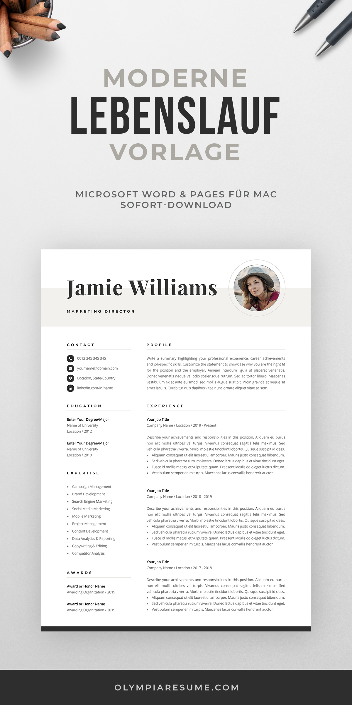Creative Resume Template With Photo Elegant Design Modern Etsy In 2020 Creative Resume Templates One Page Resume Template Creative Cv Template