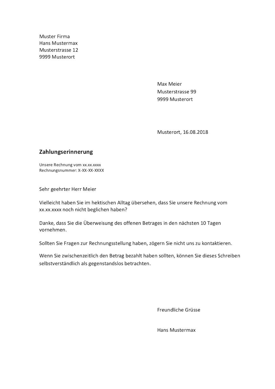 Auf Muster Vorlage Ch Gibt S Eine Zahlungserinnerung Vorlage 1 Mahnung Schweiz Zum Kostenlosen Download Word Fo Erinnerungen Zahlung Bewerbungsunterlagen