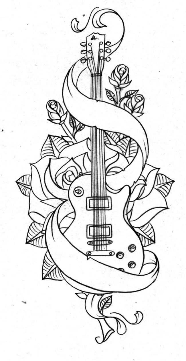 Tattoo Vorlagen Motiv Guitarre Rosen Band Tattoo Vorlagen Federtattoos Zeichnungen