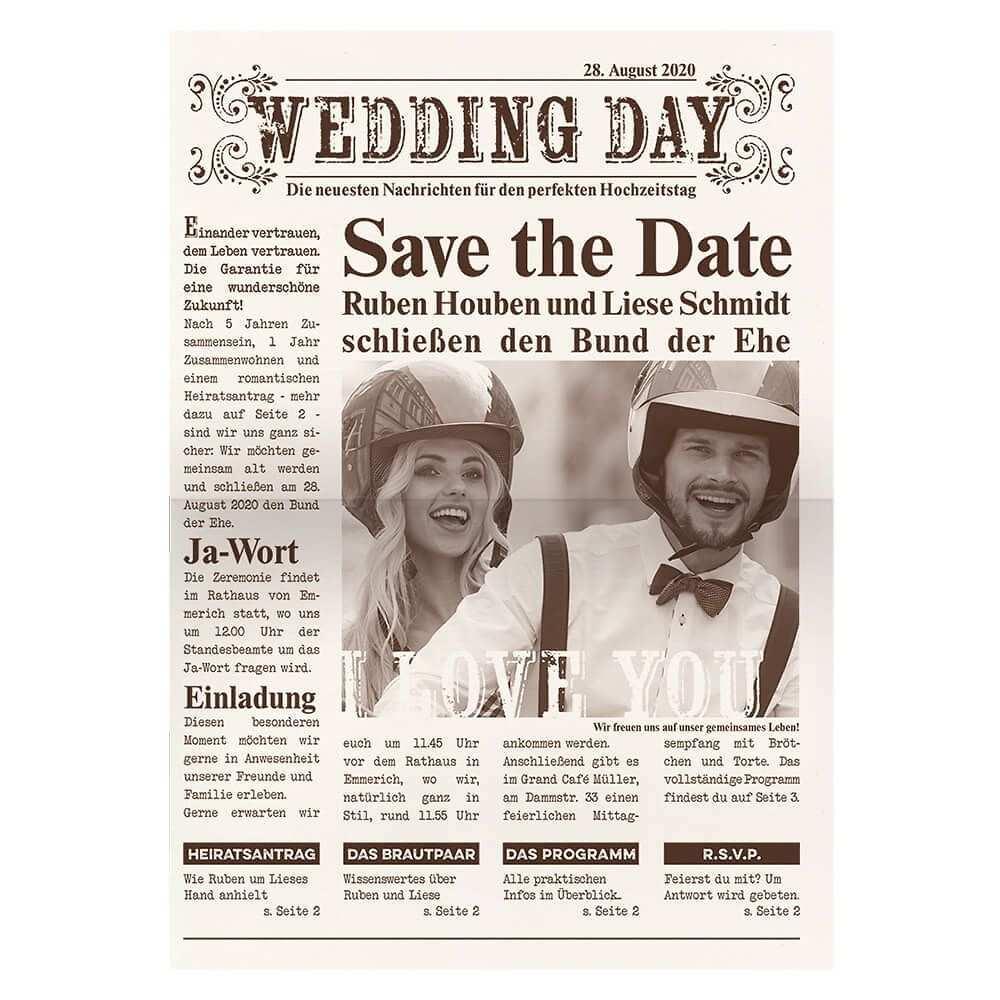 Hochzeitseinladung Newspaper Als Zeitung Ausgefallene Hochzeitseinladungen Karte Hochzeit Hochzeitseinladung