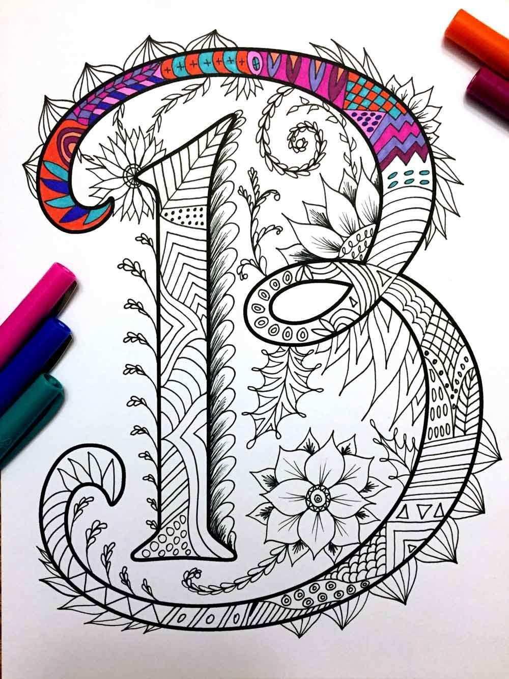 8 5 X 11 Pdf Malvorlagen Von Den Grossbuchstaben B Inspiriert Durch Die Schriftart Harrington Spass Fur Alle Zentangle Patterns Coloring Pages Coloring Books