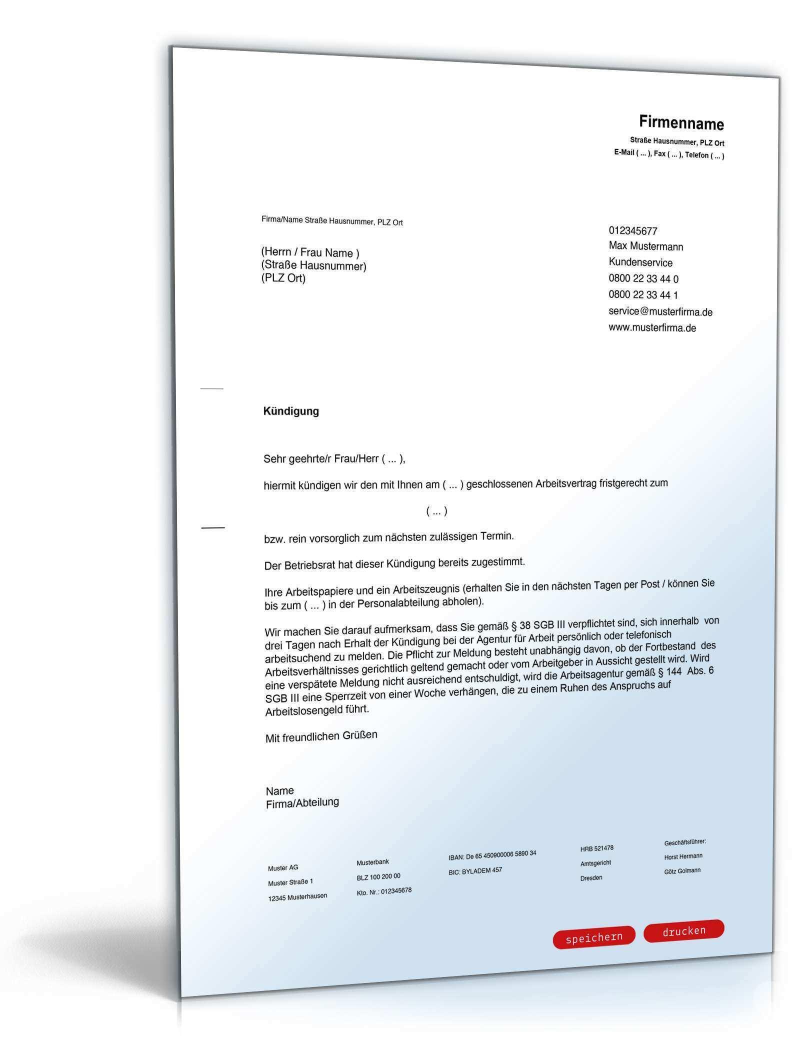 Muster Ordentliche Kundigung Fur Arbeitgeber Zum Download