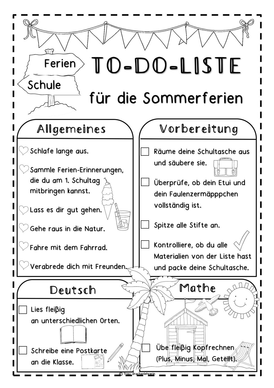 To Do Liste Fur Die Sommerferien 2 Versionen Unterrichtsmaterial In Den Fachern Deutsch Mathematik Beruf Lehrer Lernen German Lernen Tipps Schule