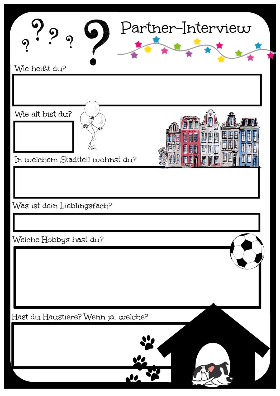 Partnerinterview Zum Gegenseitigen Vorstellen Kennenlernspiel Unterrichtsmaterial Im Fach Fachubergreifendes Kennenlernen Spiele Partner Interview