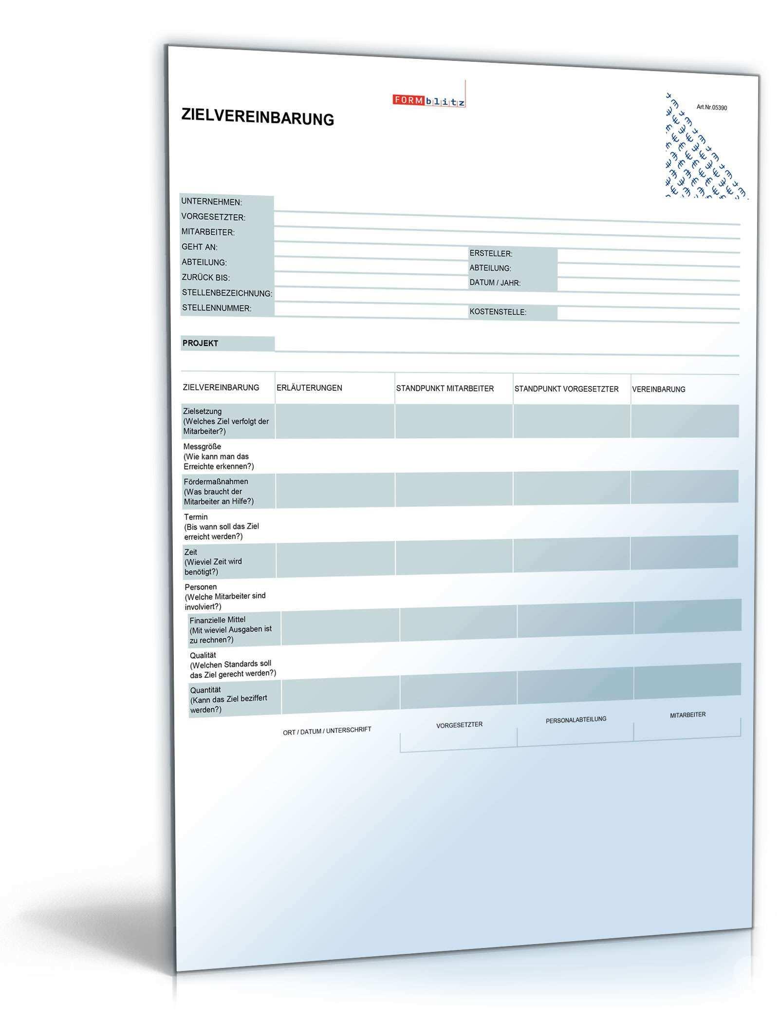 Zielvereinbarung Ausfullbares Muster Zum Download
