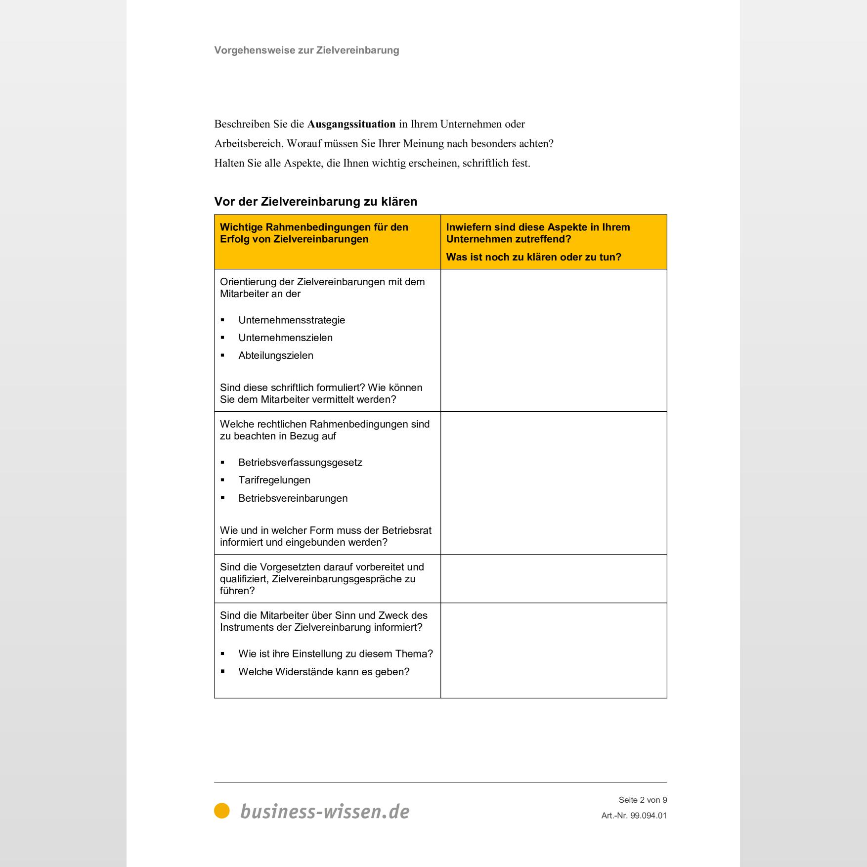 Vorgehensweise Zur Zielvereinbarung Mit Mitarbeitern Vorlage Business Wissen De