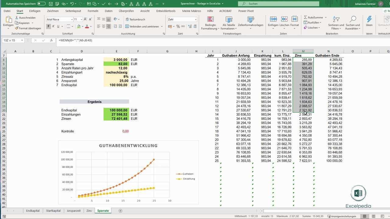 Sparrechner Vorlage In Excel Sparrate Berechnen I Excelpedia Youtube