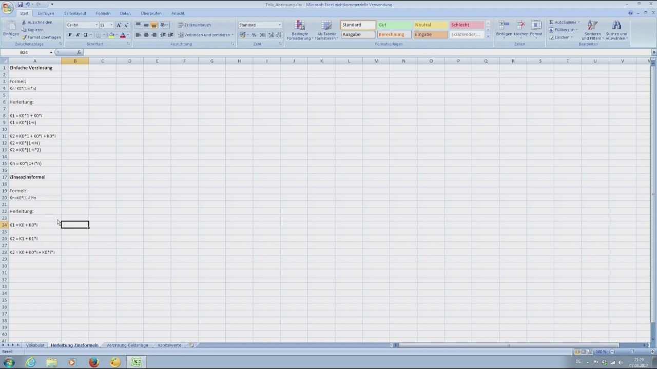 Herleitung Formeln Einfache Verzinsung Und Zinseszins Tutorial Bwl Excel Deutsch Youtube