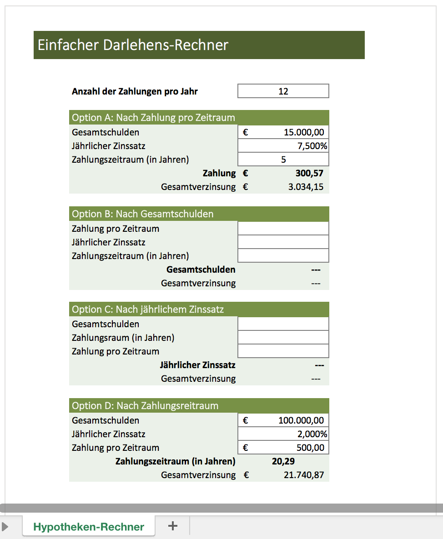 Kostenloser Darlehensrechner Mit Excel